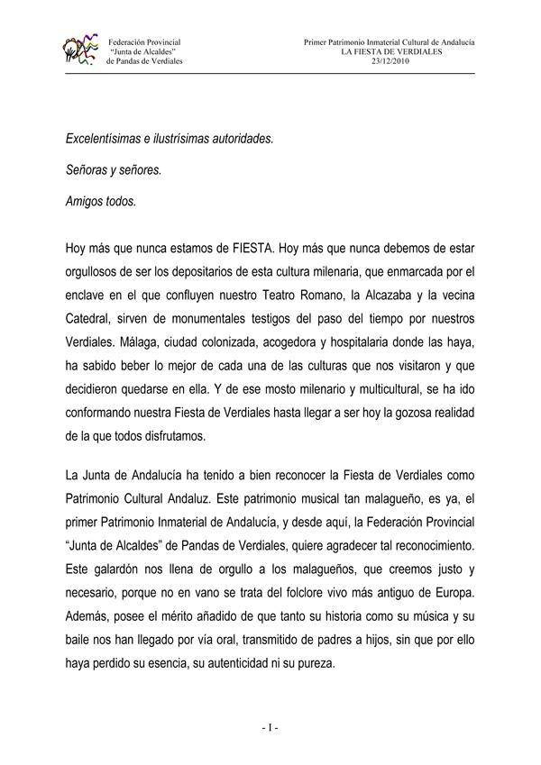 Texto de agradecimiento de la Federación Primera parte