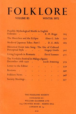"Portada de la Revista inglesa ""Folklore"""