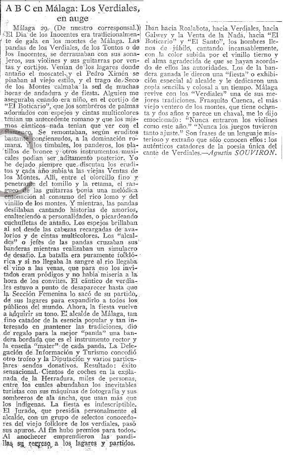 Prensa 1961_12_30 ABC - Los Verdiales en auge - Agustín Souviron