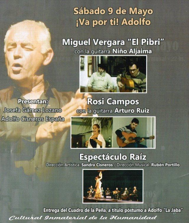 Cartel del Homenaje a Adolfo España en el último Reviso Flamenco de Almáchar (9 de mayo, 2015)